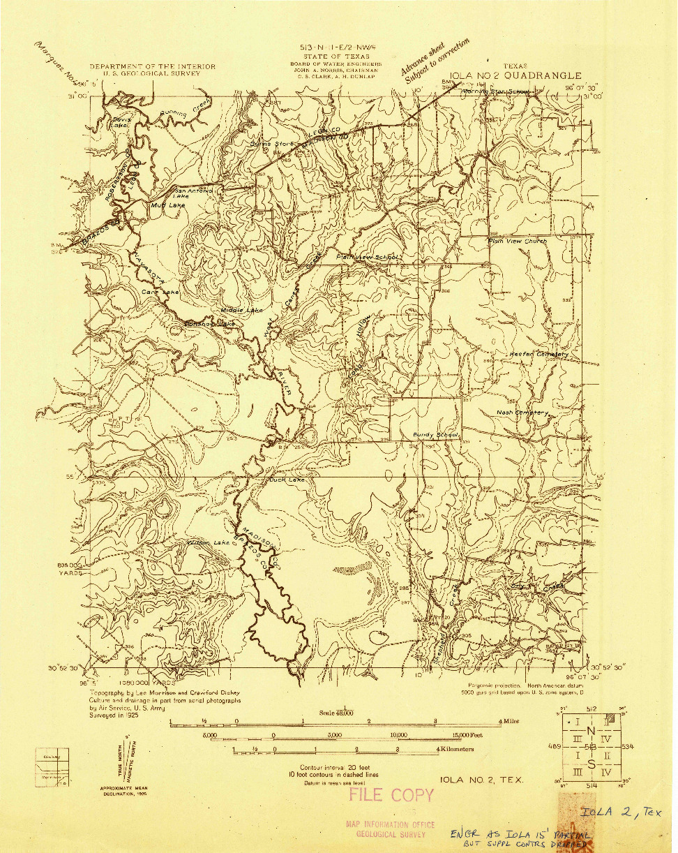 USGS 1:48000-SCALE QUADRANGLE FOR IOLA NO 2, TX 1925