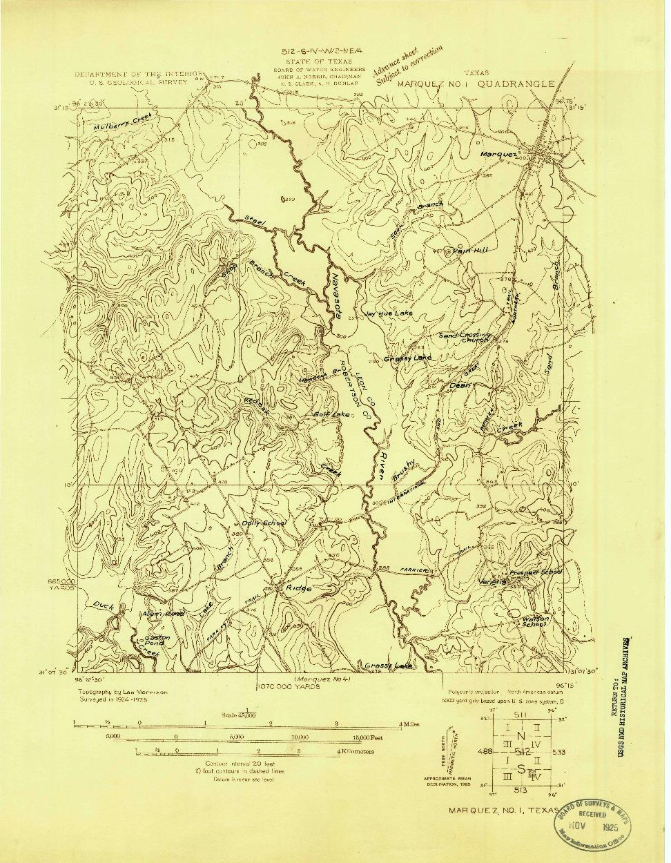USGS 1:48000-SCALE QUADRANGLE FOR MARQUEZ NO. 1, TX 1925
