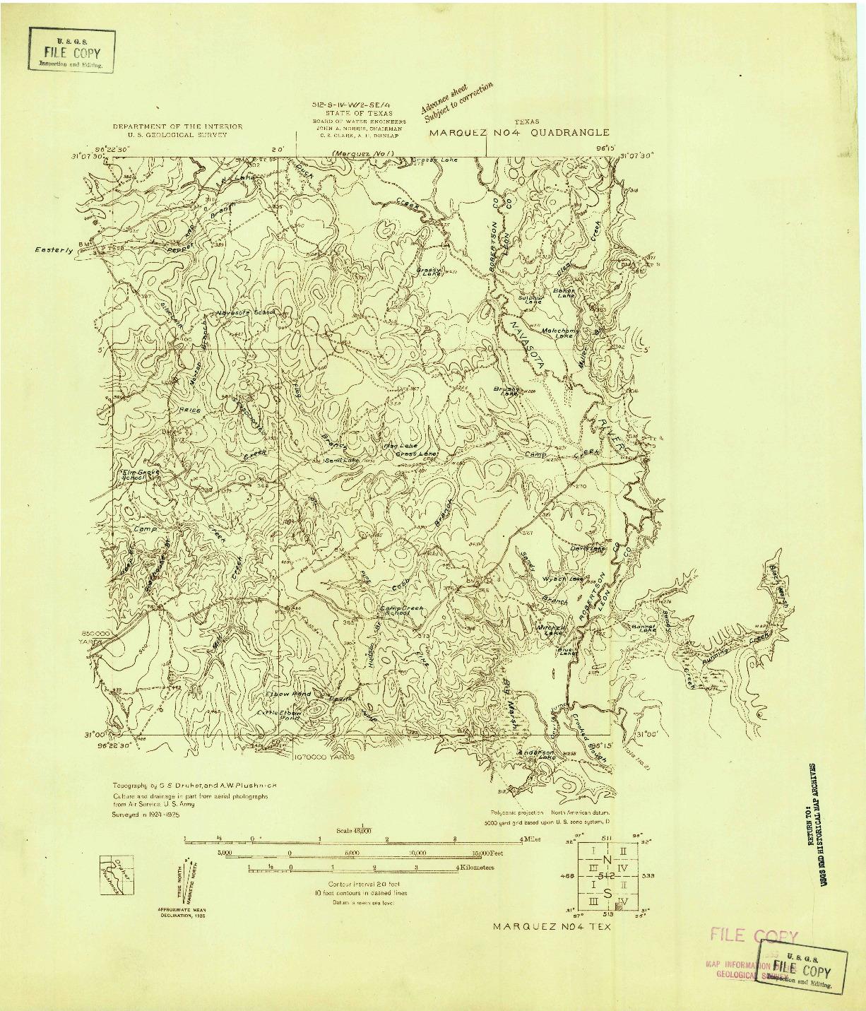 USGS 1:48000-SCALE QUADRANGLE FOR MARQUEZ NO. 4, TX 1925