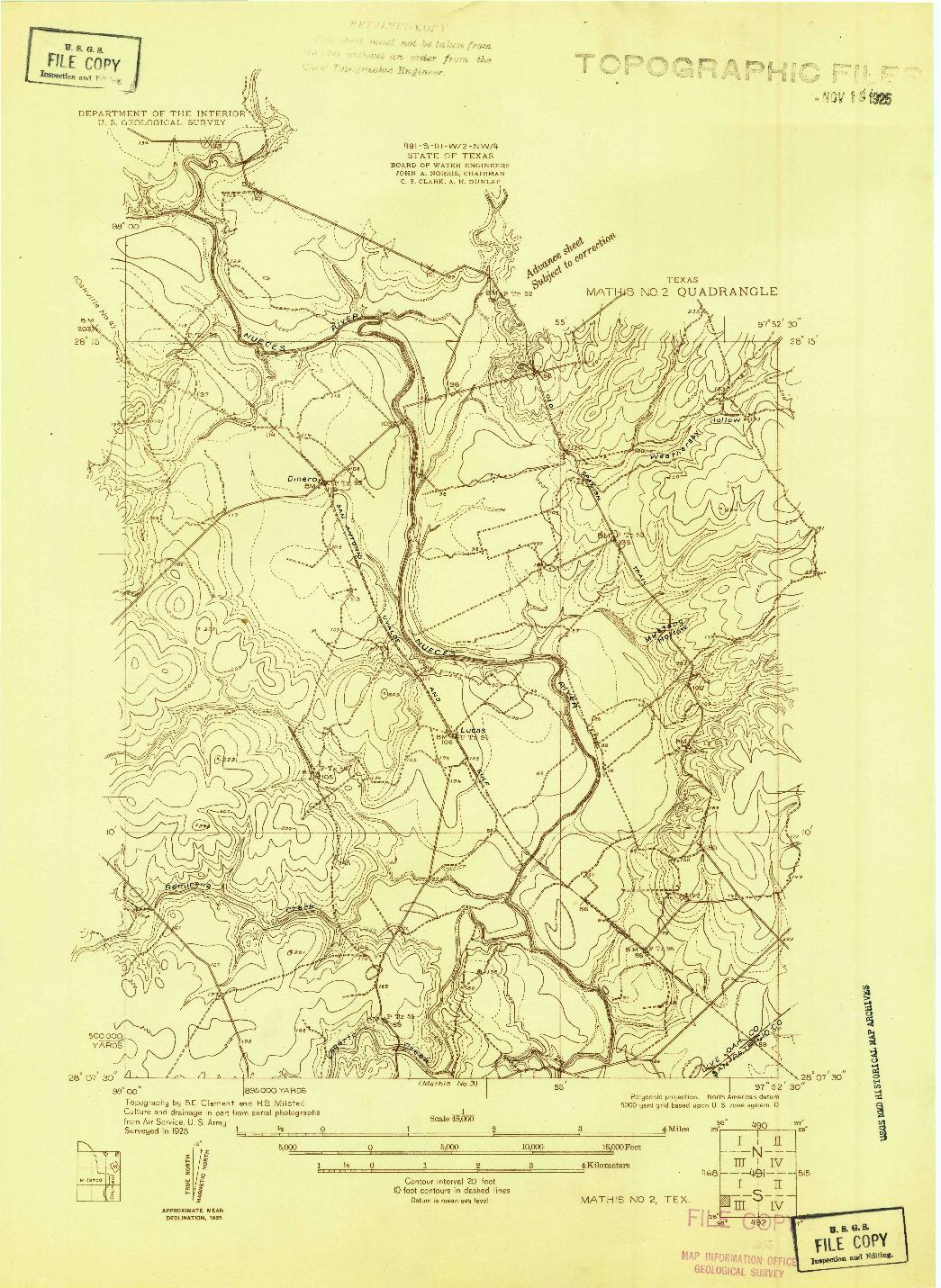 USGS 1:48000-SCALE QUADRANGLE FOR MATHIS NO. 2, TX 1925