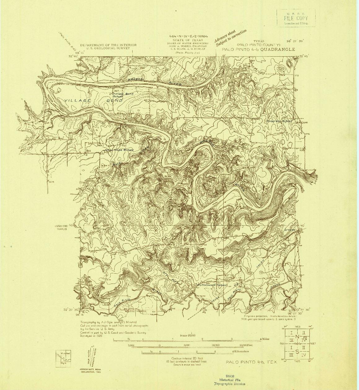 USGS 1:48000-SCALE QUADRANGLE FOR PALO PINTO 4-B, TX 1925