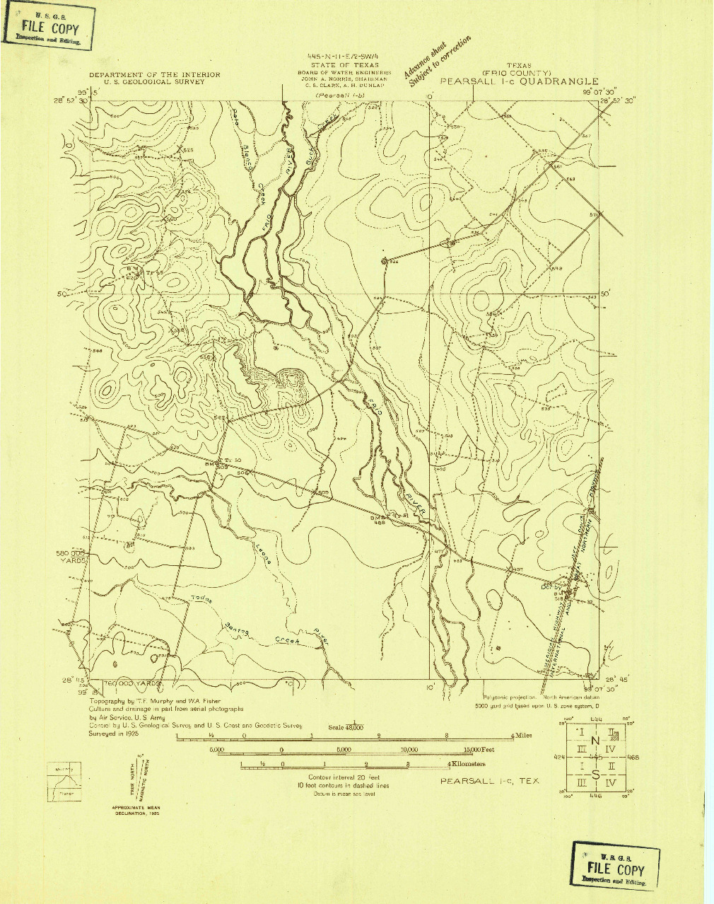 USGS 1:48000-SCALE QUADRANGLE FOR PEARSALL 1-C, TX 1925