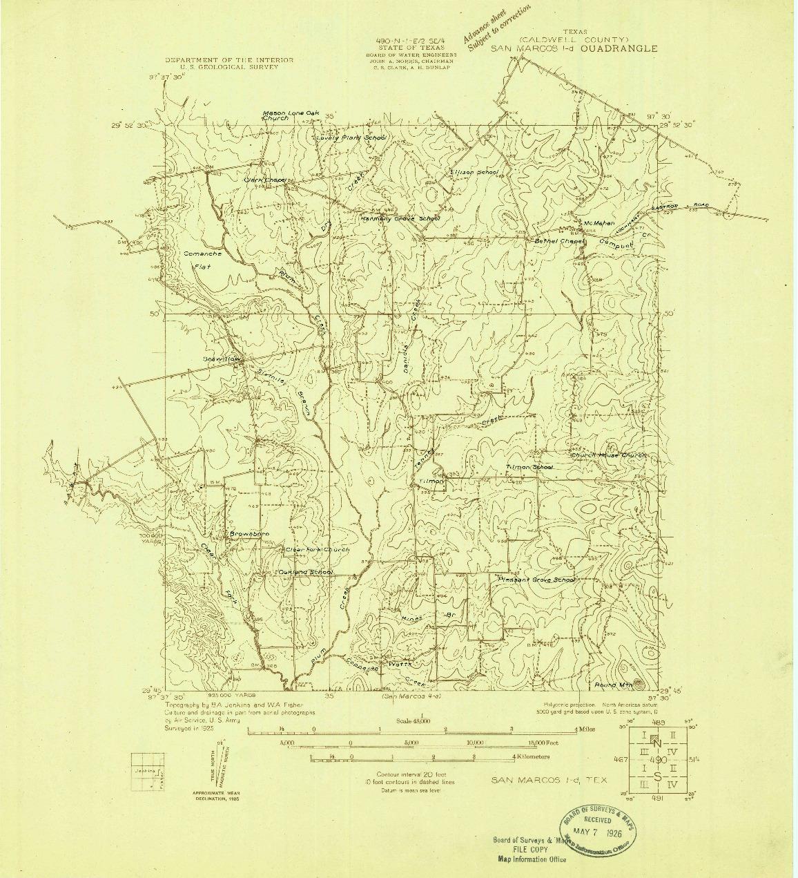 USGS 1:48000-SCALE QUADRANGLE FOR SAN MARCOS 1-D, TX 1925