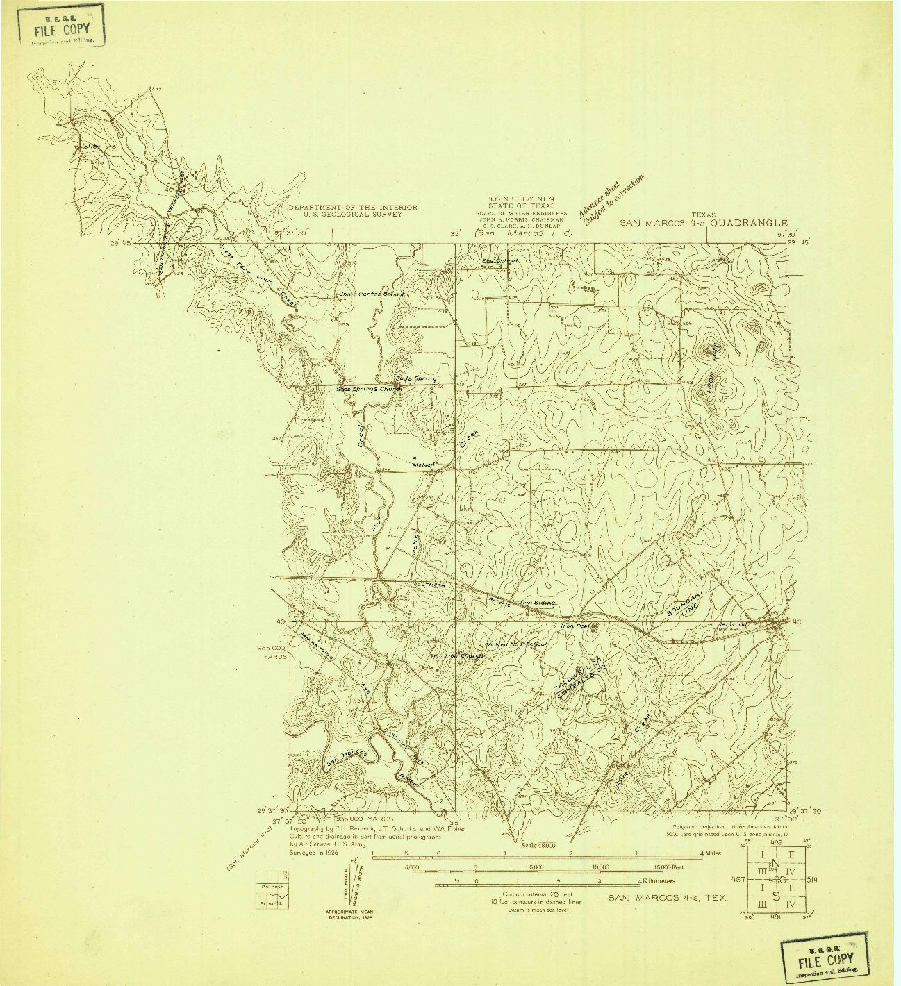 USGS 1:48000-SCALE QUADRANGLE FOR SAN MARCOS 4-A, TX 1925