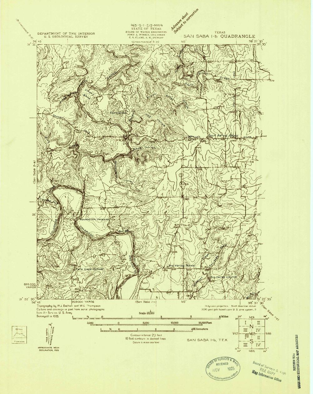 USGS 1:48000-SCALE QUADRANGLE FOR SAN SABA 1-B, TX 1925