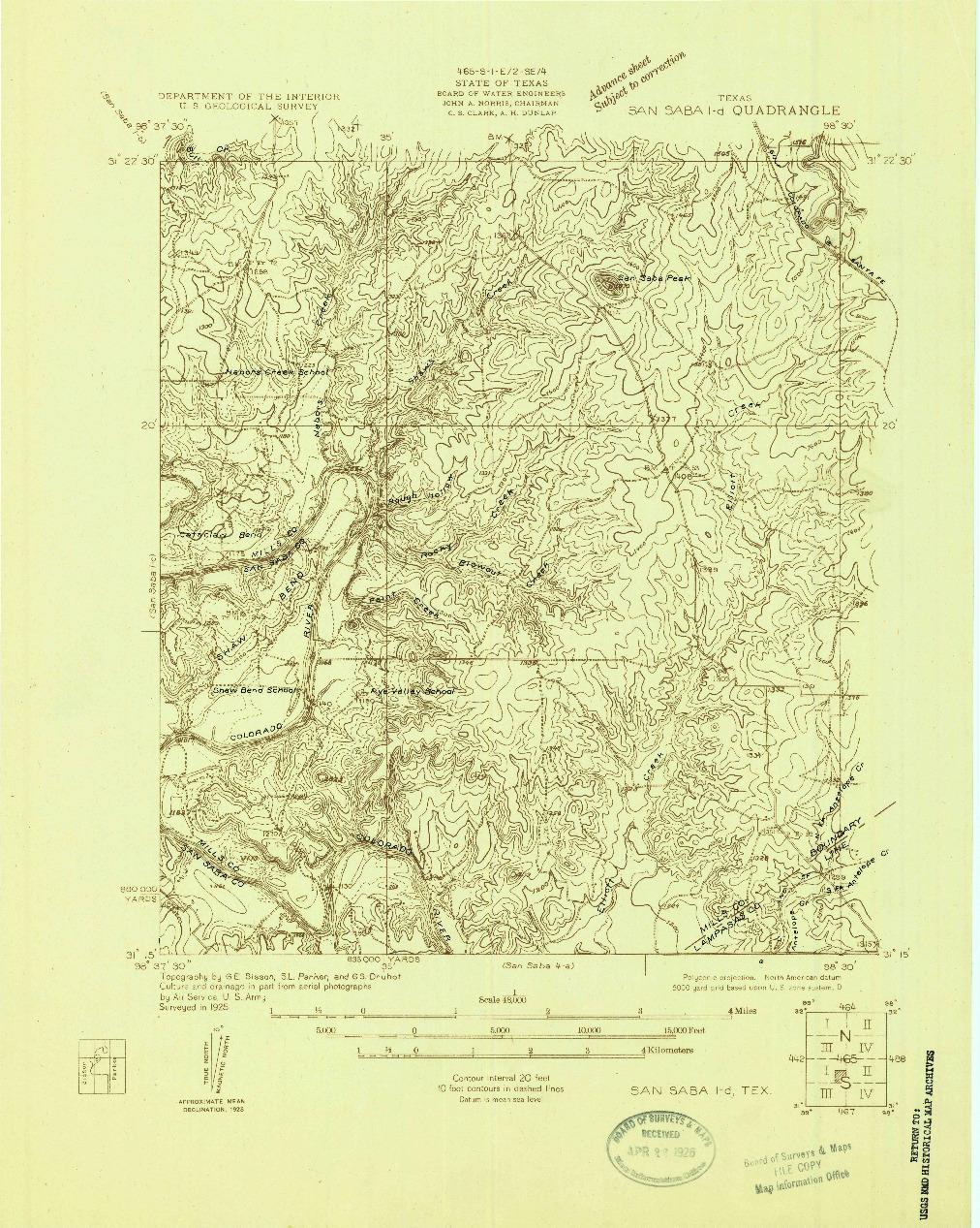 USGS 1:48000-SCALE QUADRANGLE FOR SAN SABA 1-D, TX 1925