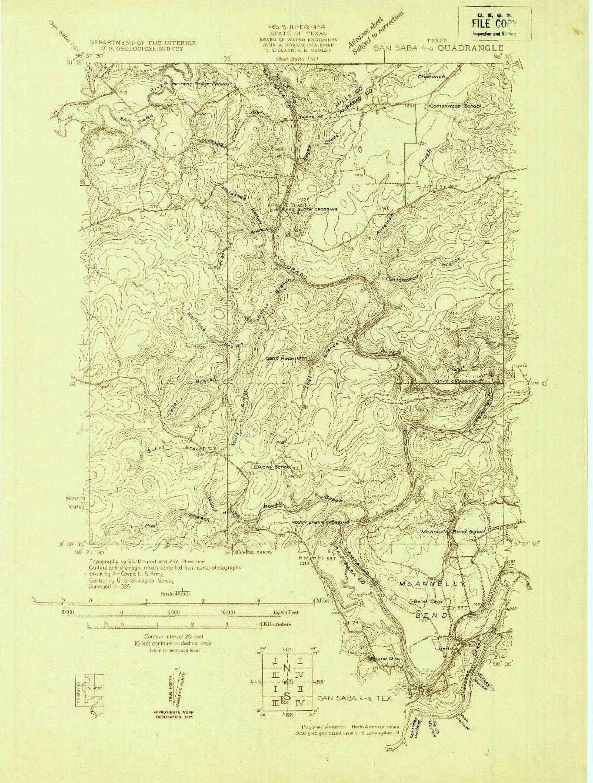 USGS 1:48000-SCALE QUADRANGLE FOR SAN SABA 4-A, TX 1925