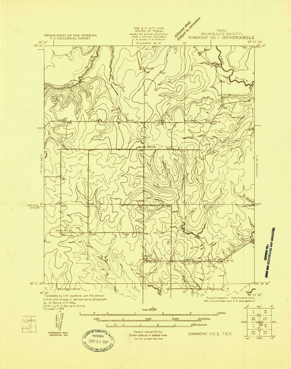 USGS 1:48000-SCALE QUADRANGLE FOR SIMMONS NO. 2, TX 1925
