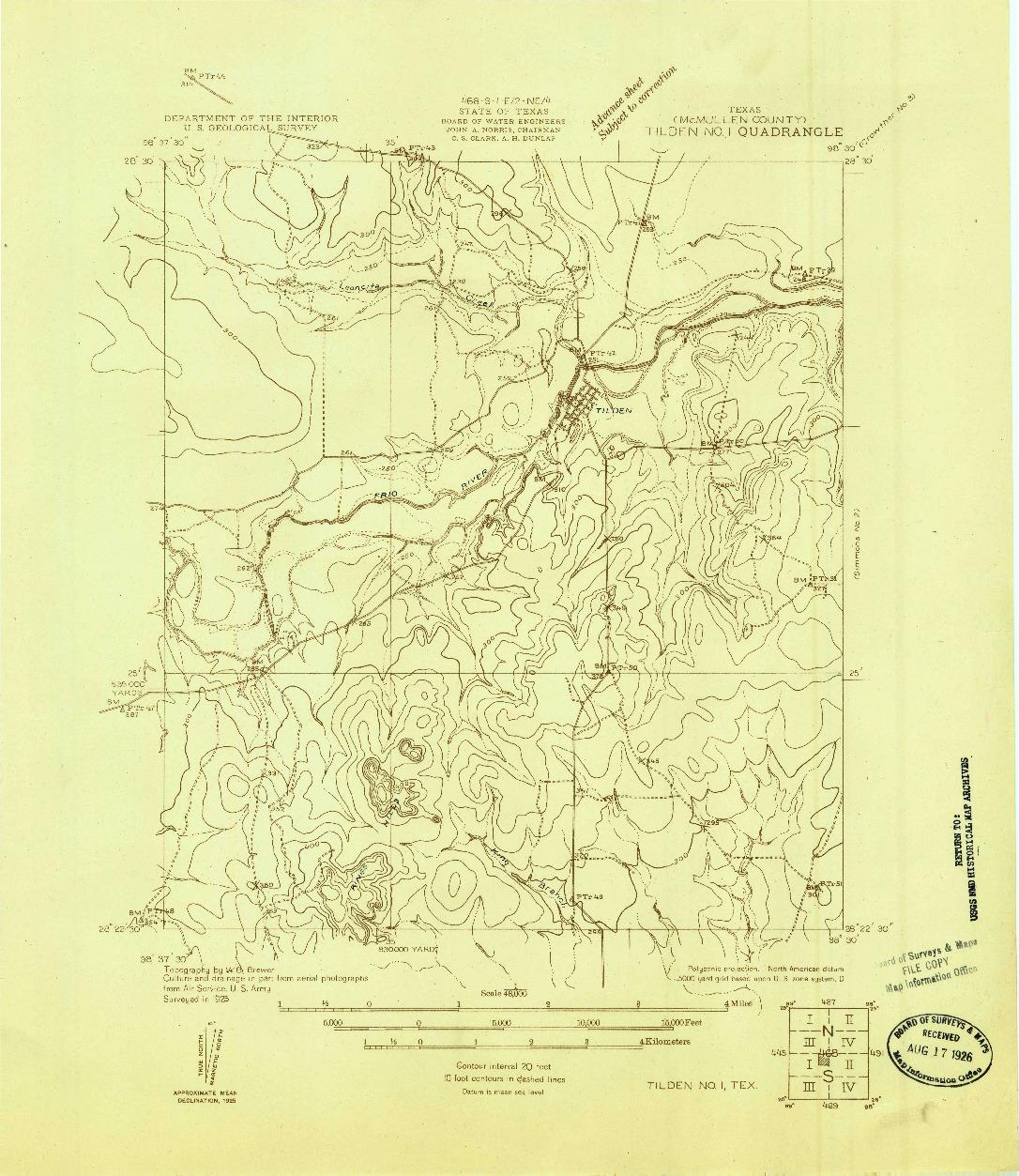 USGS 1:48000-SCALE QUADRANGLE FOR TILDEN NO. 1, TX 1925