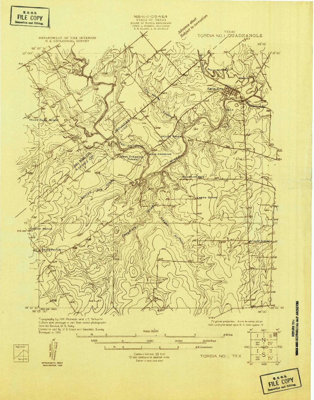 USGS 1:48000-SCALE QUADRANGLE FOR TORDIA NO. 1, TX 1925