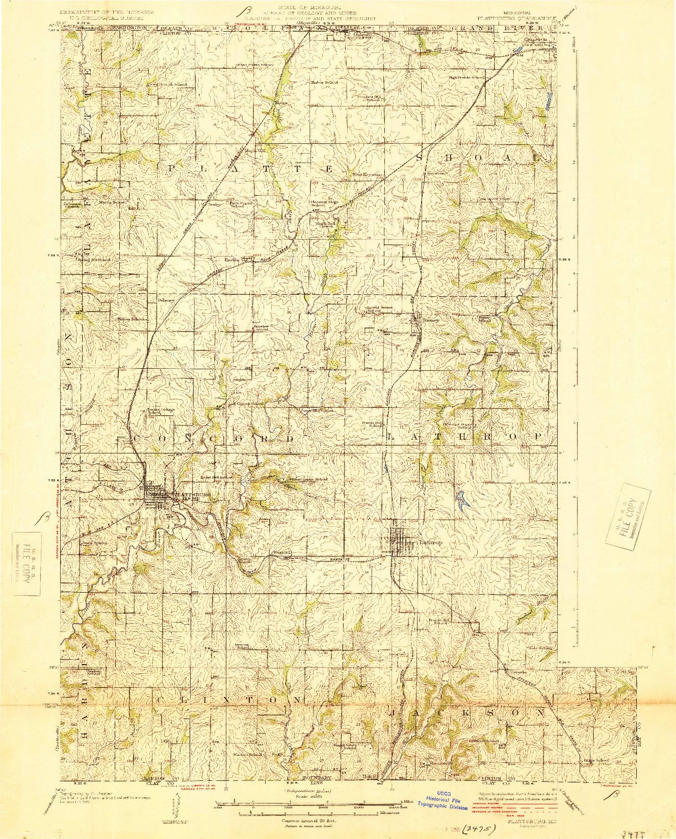 USGS 1:62500-SCALE QUADRANGLE FOR PLATTSBURG, MO 1925