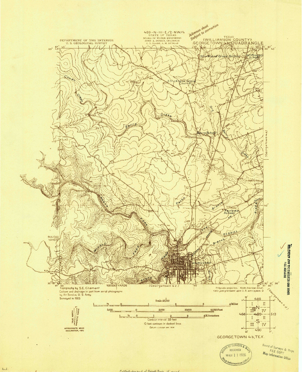 USGS 1:48000-SCALE QUADRANGLE FOR GEORGETOWN 4-B, TX 1925