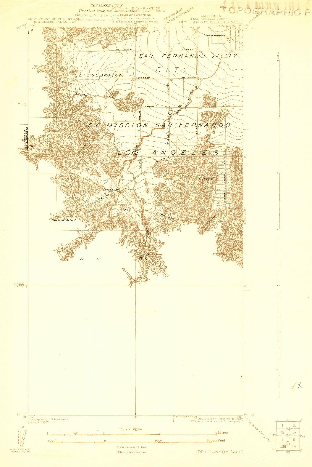 USGS 1:24000-SCALE QUADRANGLE FOR DRY CANYON, CA 1925
