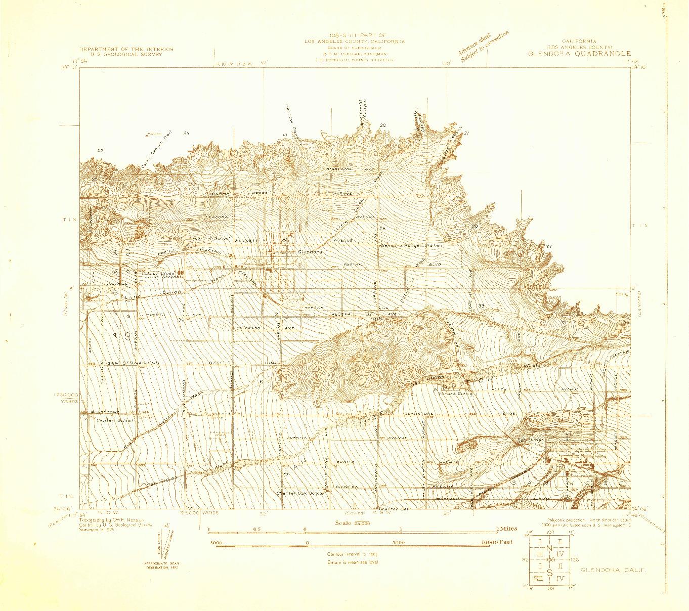 USGS 1:24000-SCALE QUADRANGLE FOR GLENDORA, CA 1925