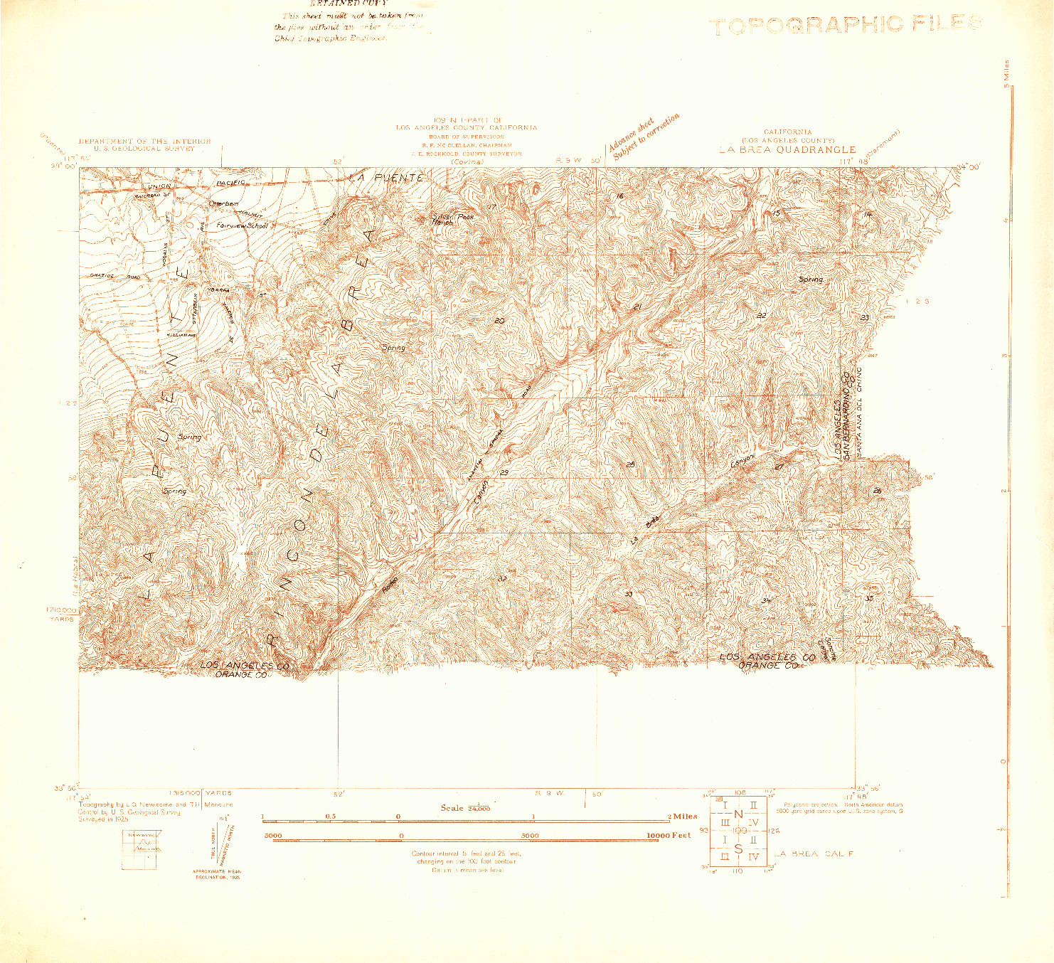 USGS 1:24000-SCALE QUADRANGLE FOR LA BREA, CA 1925