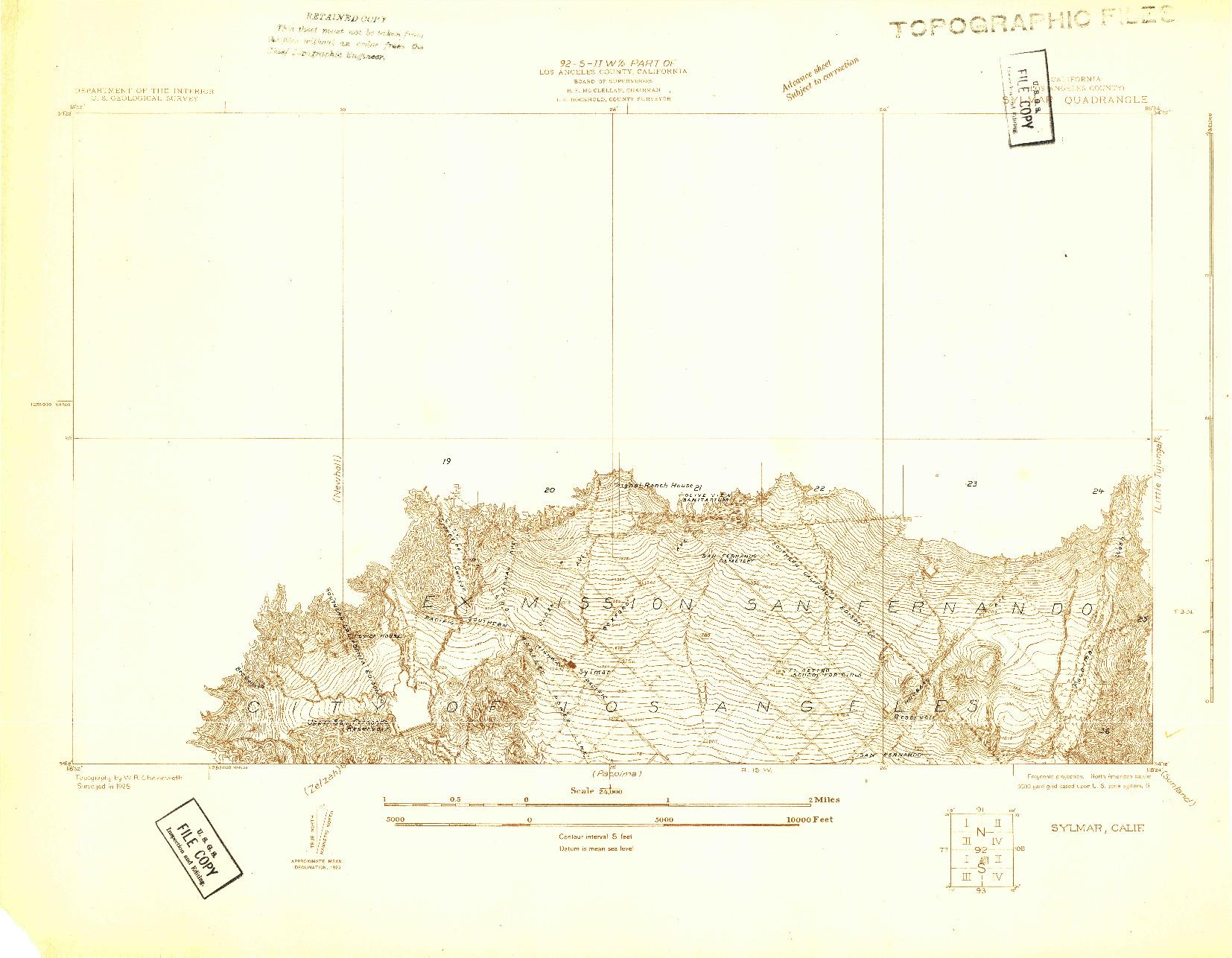 USGS 1:24000-SCALE QUADRANGLE FOR SYLMAR, CA 1925