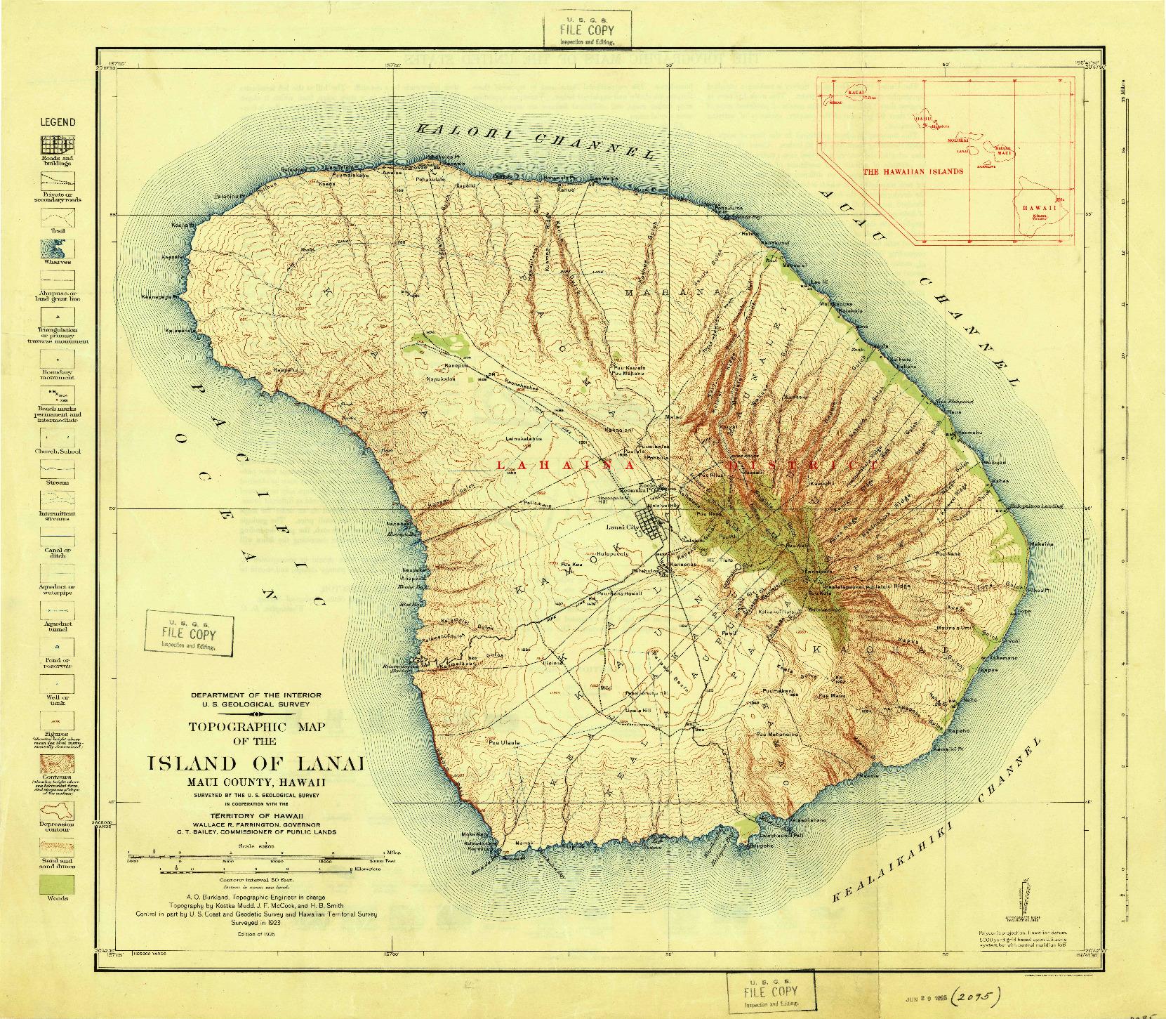 USGS 1:62500-SCALE QUADRANGLE FOR ISLAND OF LANAI, HI 1925
