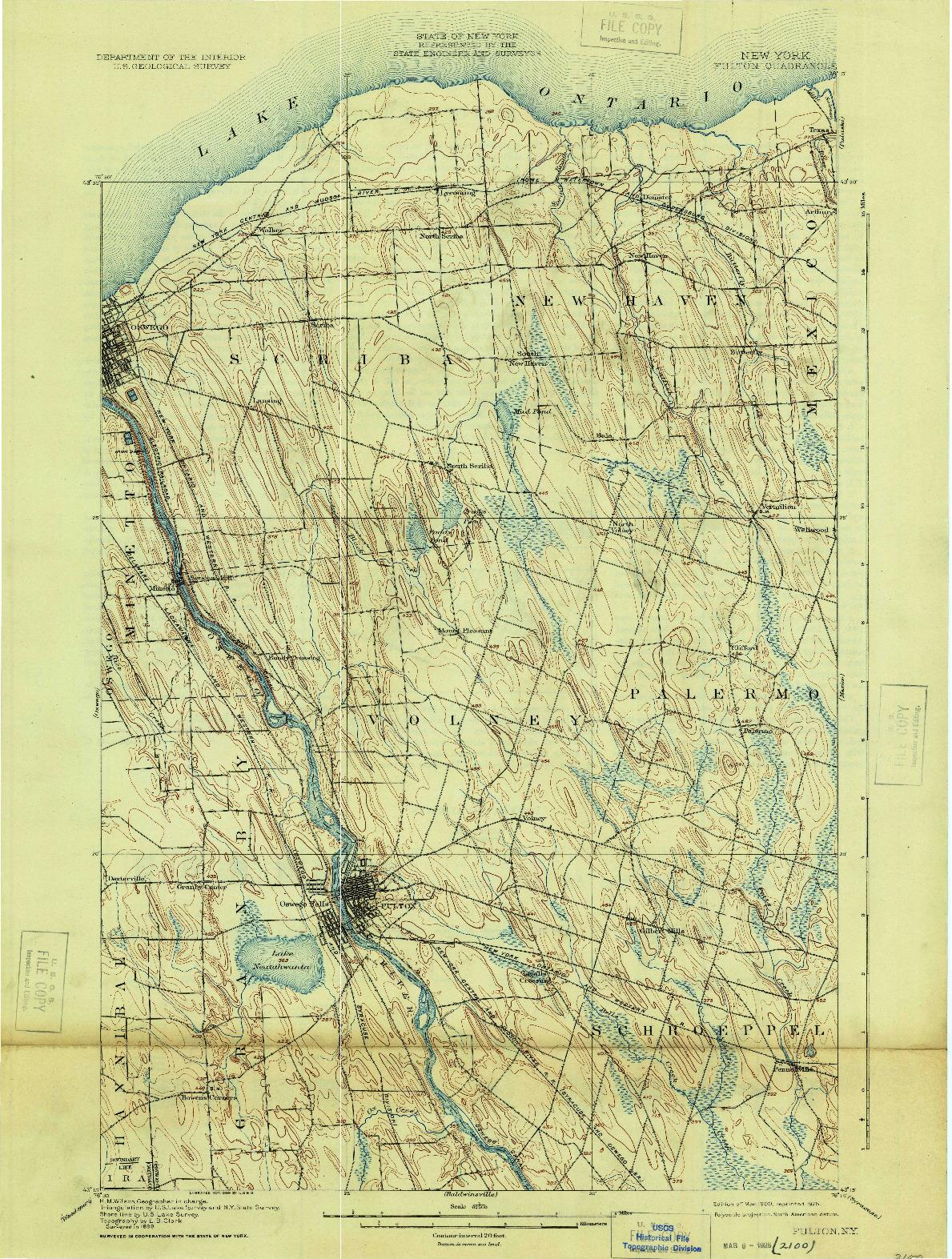 USGS 1:62500-SCALE QUADRANGLE FOR FULTON, NY 1900