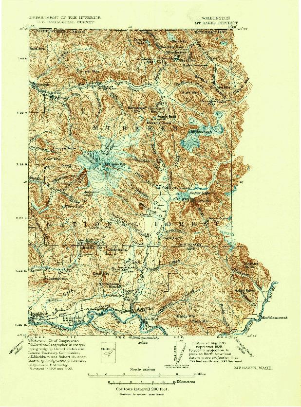 USGS 1:250000-SCALE QUADRANGLE FOR MT. BAKER, WA 1915