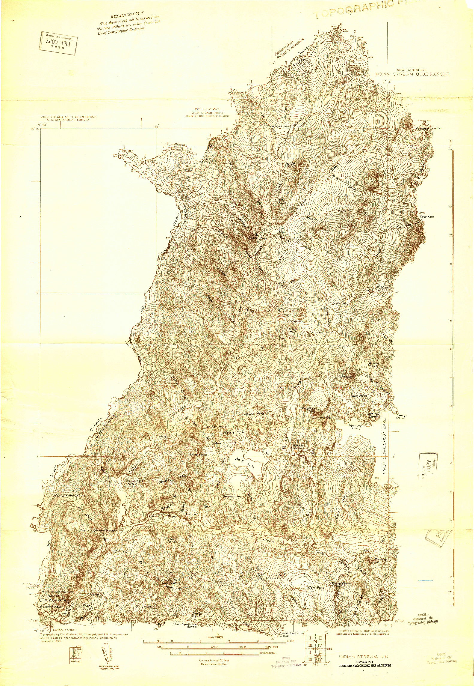 USGS 1:48000-SCALE QUADRANGLE FOR INDIAN STREAM, NH 1925