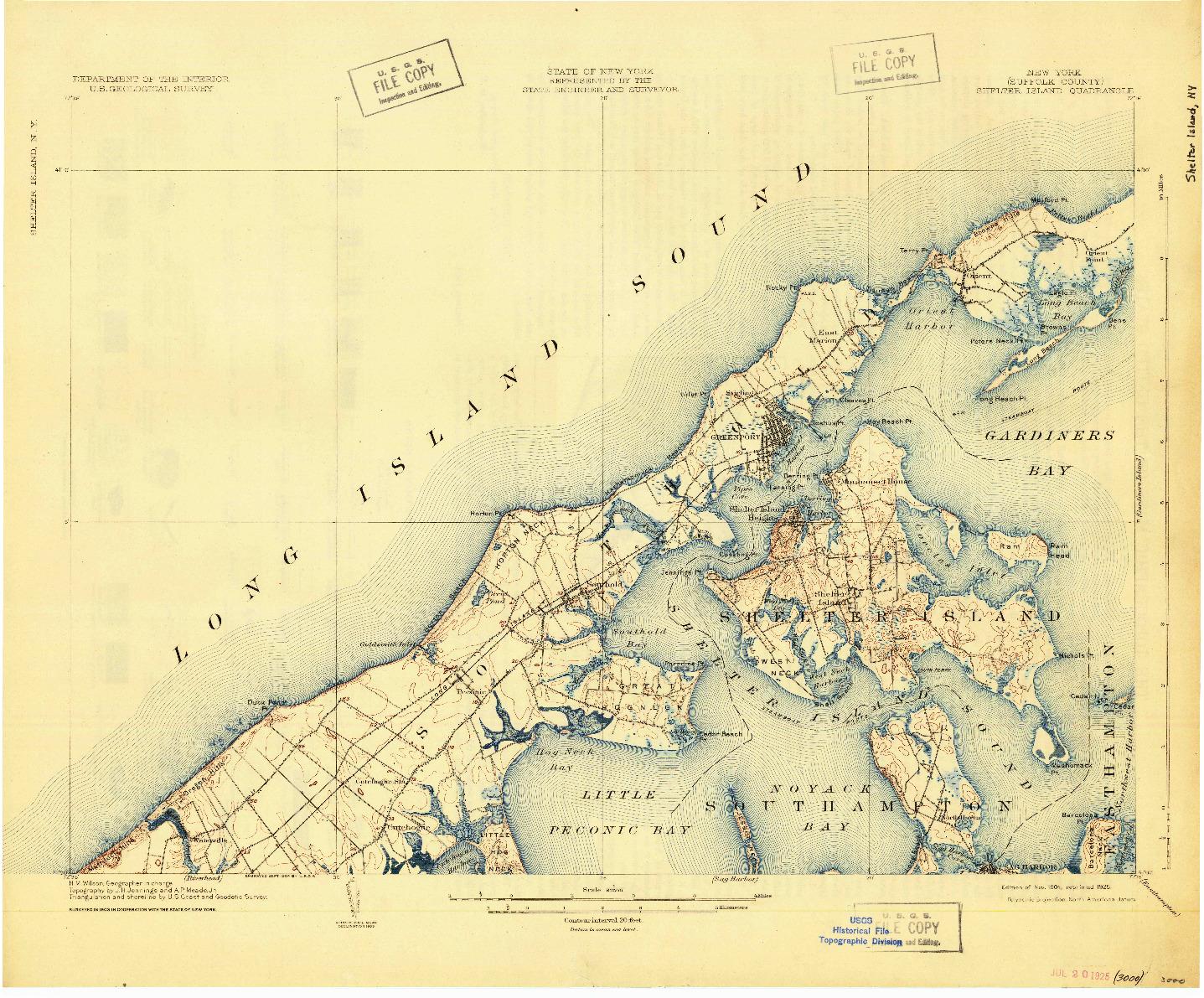 USGS 1:62500-SCALE QUADRANGLE FOR SHELTER ISLAND, NY 1904