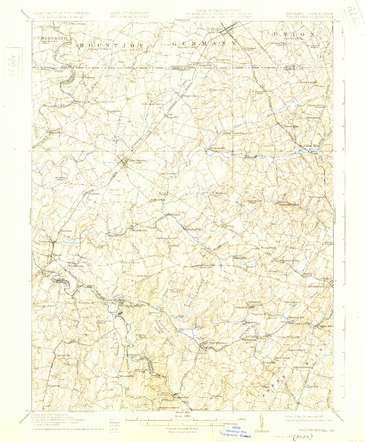 USGS 1:62500-SCALE QUADRANGLE FOR TANEYTOWN, MD 1911