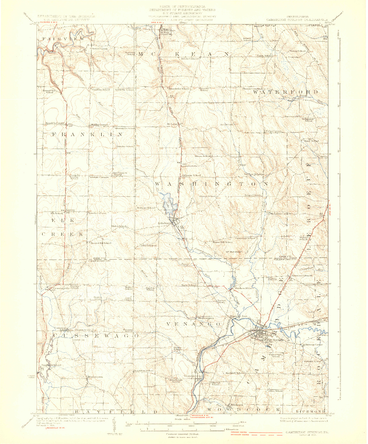 USGS 1:62500-SCALE QUADRANGLE FOR CAMBRIDGE SPRINGS, PA 1925
