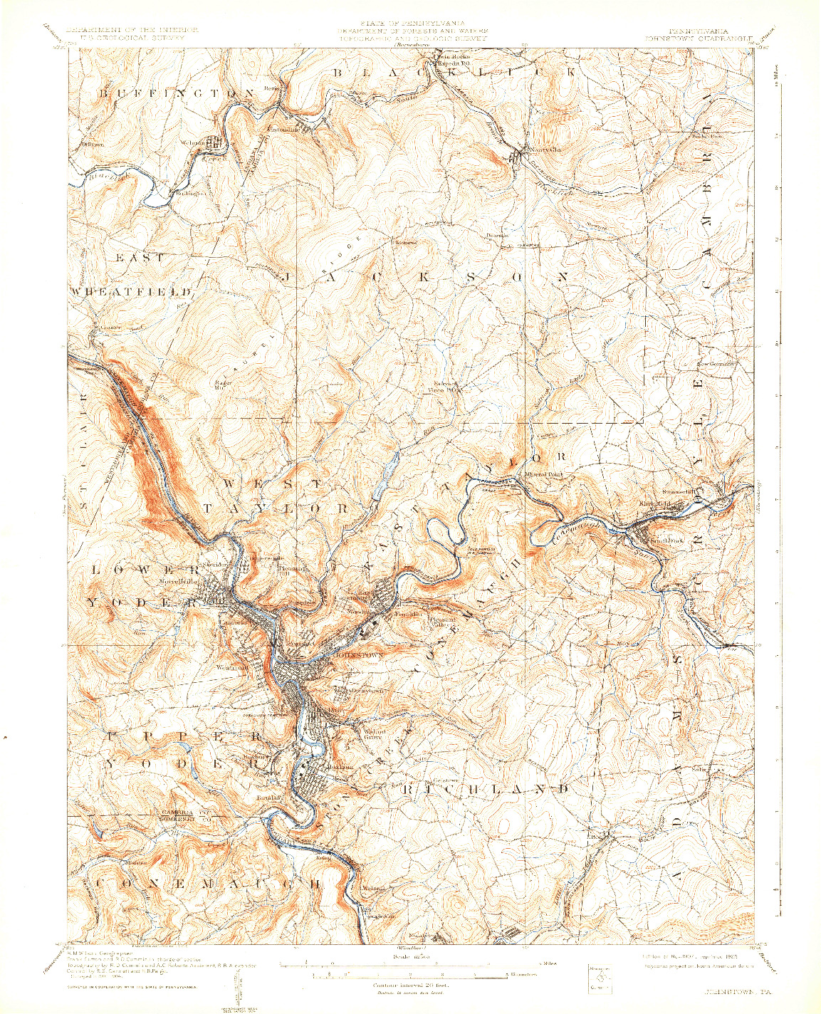 USGS 1:62500-SCALE QUADRANGLE FOR JOHNSTOWN, PA 1907