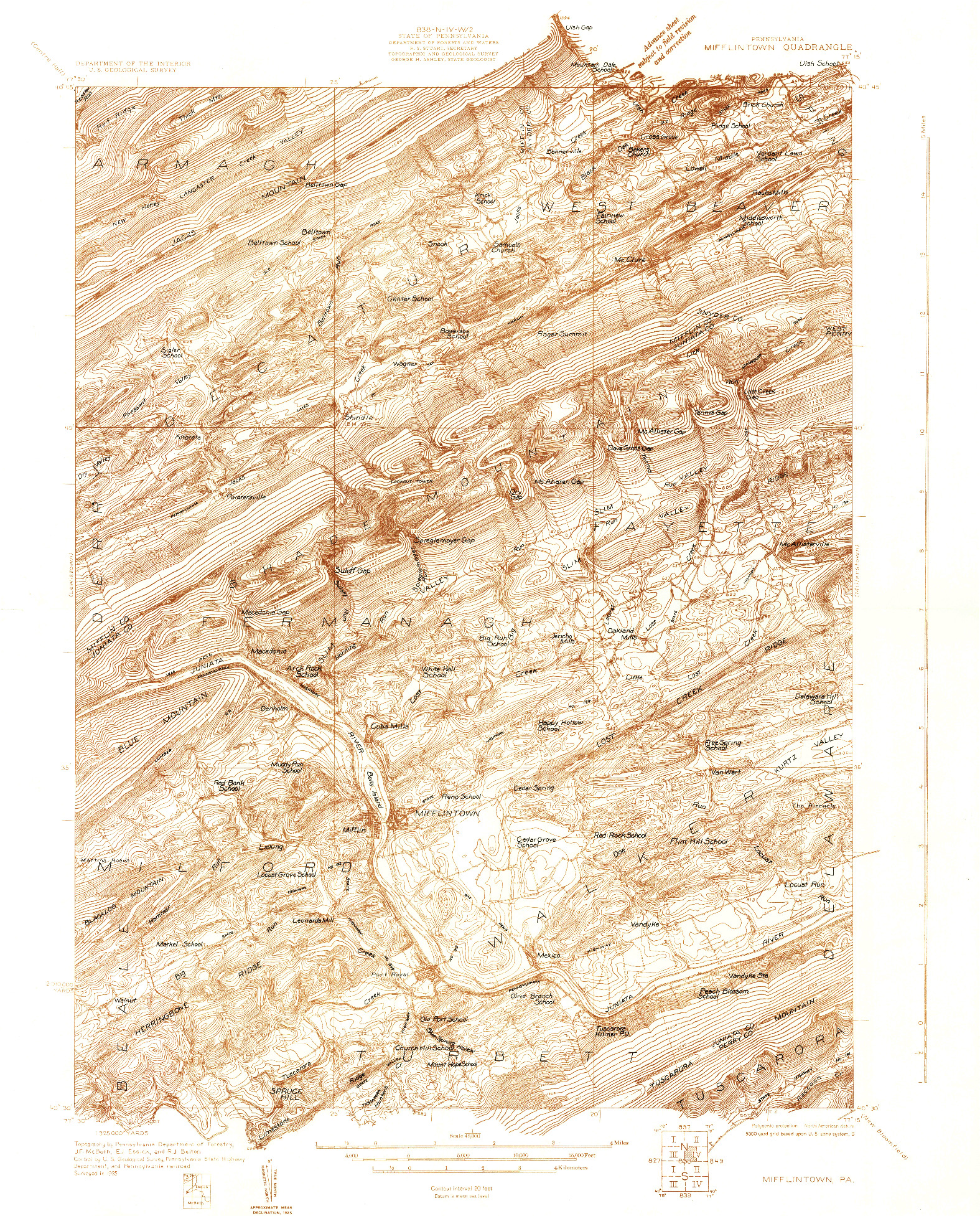 USGS 1:48000-SCALE QUADRANGLE FOR MIFFLINTOWN, PA 1925