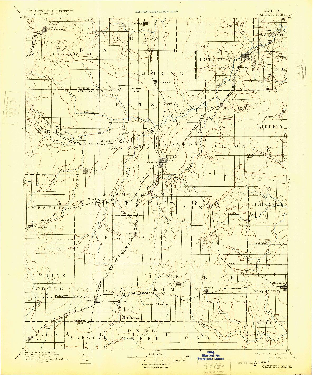 USGS 1:125000-SCALE QUADRANGLE FOR GARNETT, KS 1894