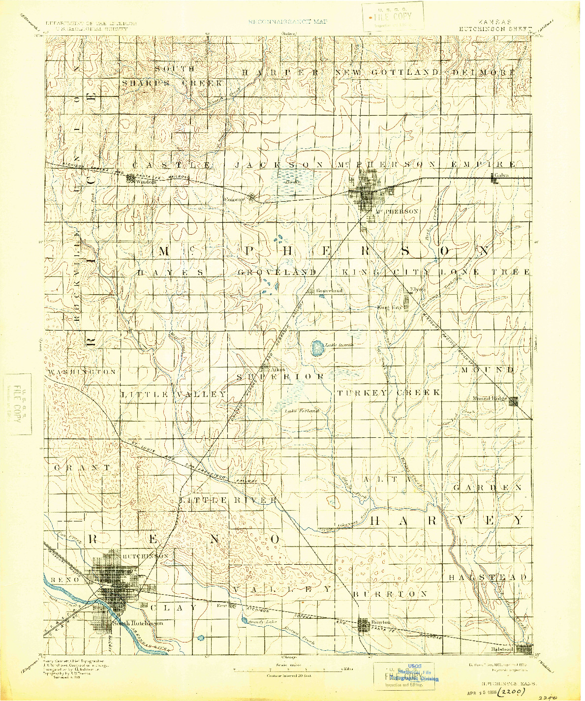USGS 1:125000-SCALE QUADRANGLE FOR HUTCHINSON, KS 1893