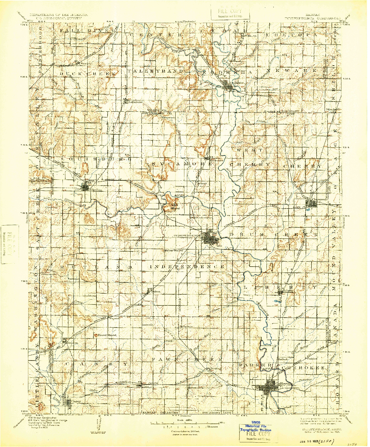 USGS 1:125000-SCALE QUADRANGLE FOR INDEPENDENCE, KS 1905