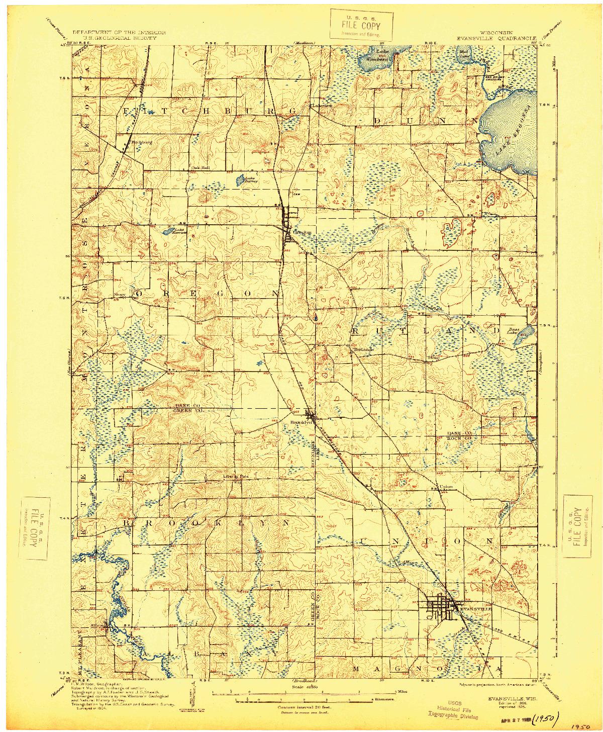 USGS 1:62500-SCALE QUADRANGLE FOR EVANSVILLE, WI 1906
