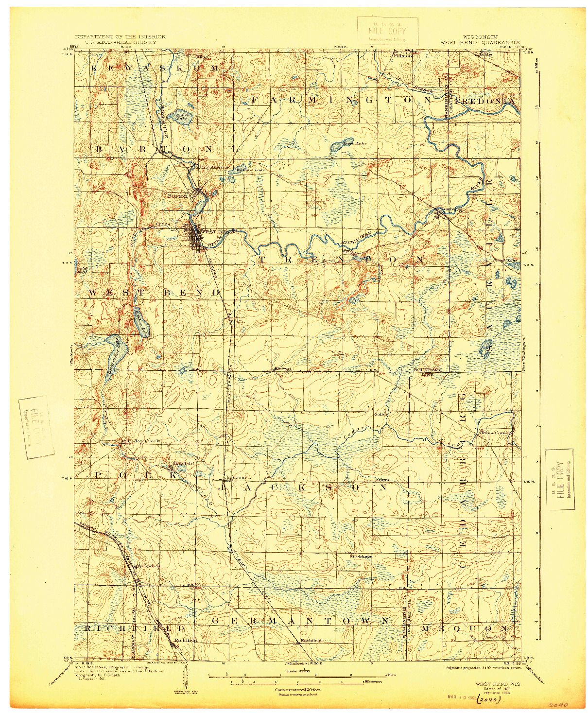 USGS 1:62500-SCALE QUADRANGLE FOR WEST BEND, WI 1904