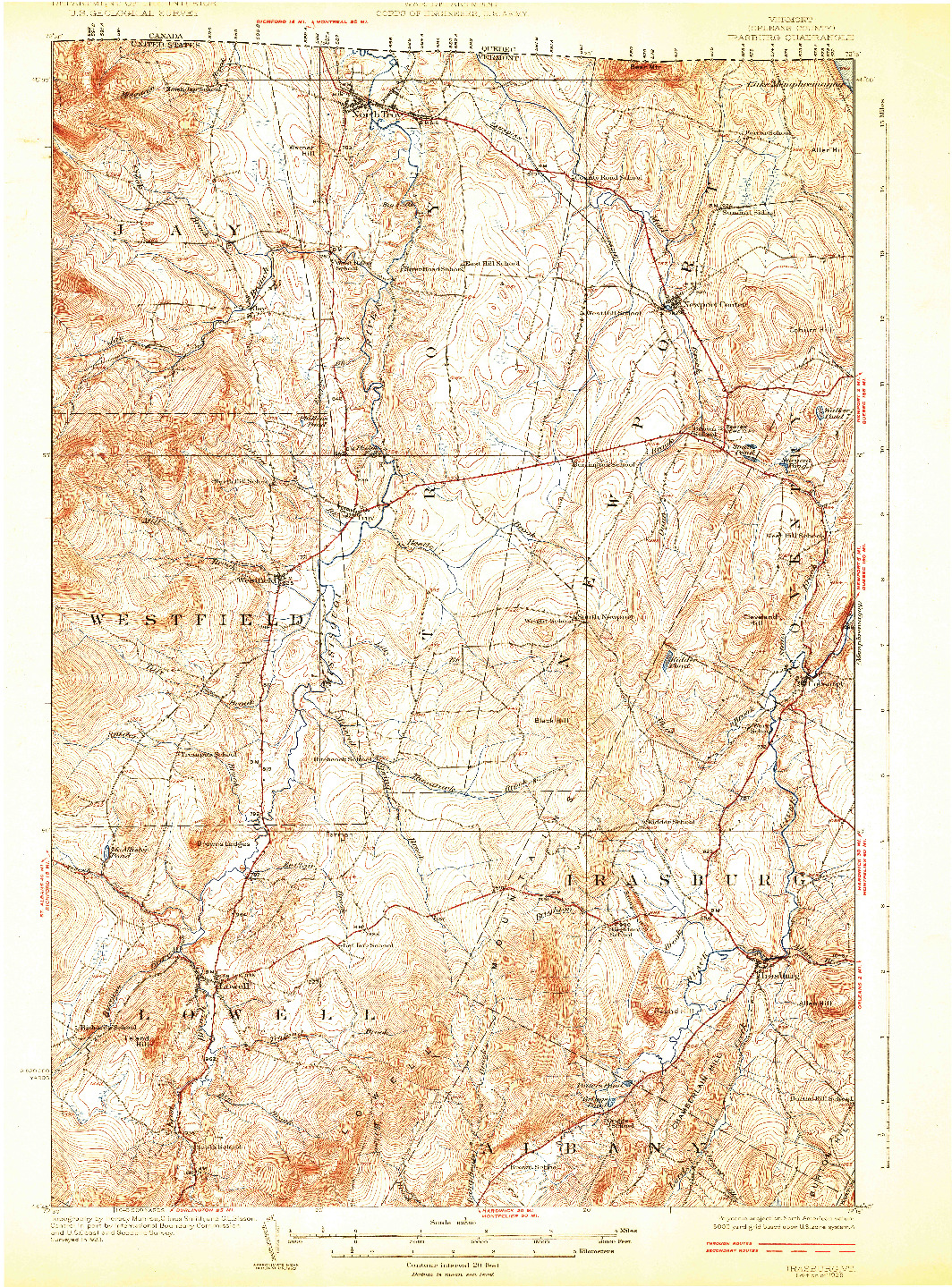 USGS 1:62500-SCALE QUADRANGLE FOR IRASBURG, VT 1925