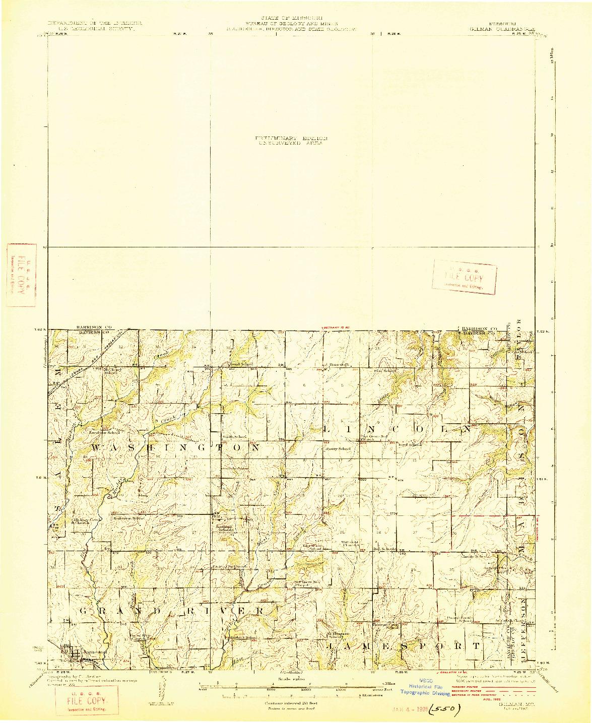 USGS 1:62500-SCALE QUADRANGLE FOR GILMAN, MO 1925