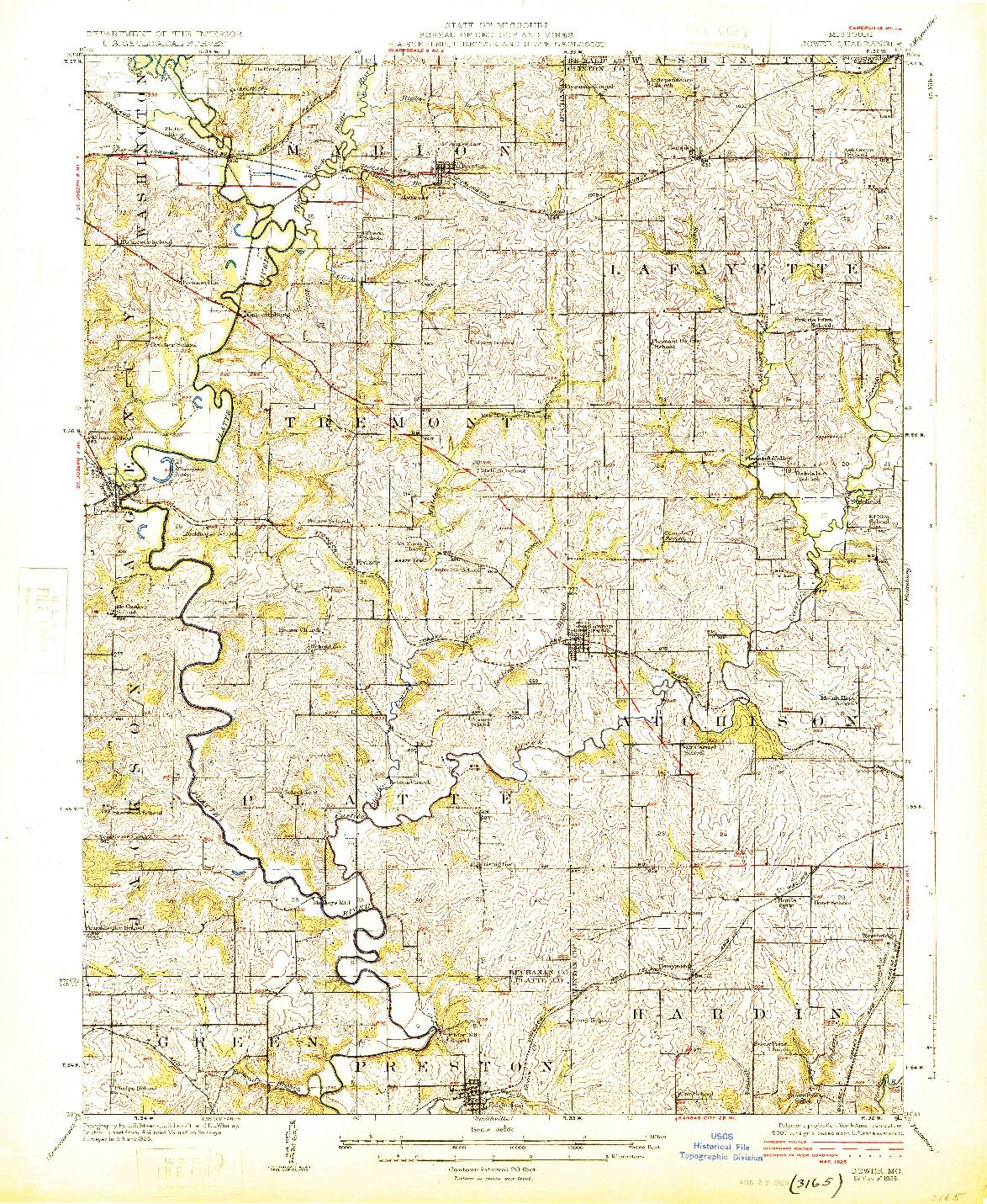 USGS 1:62500-SCALE QUADRANGLE FOR GOWER, MO 1925