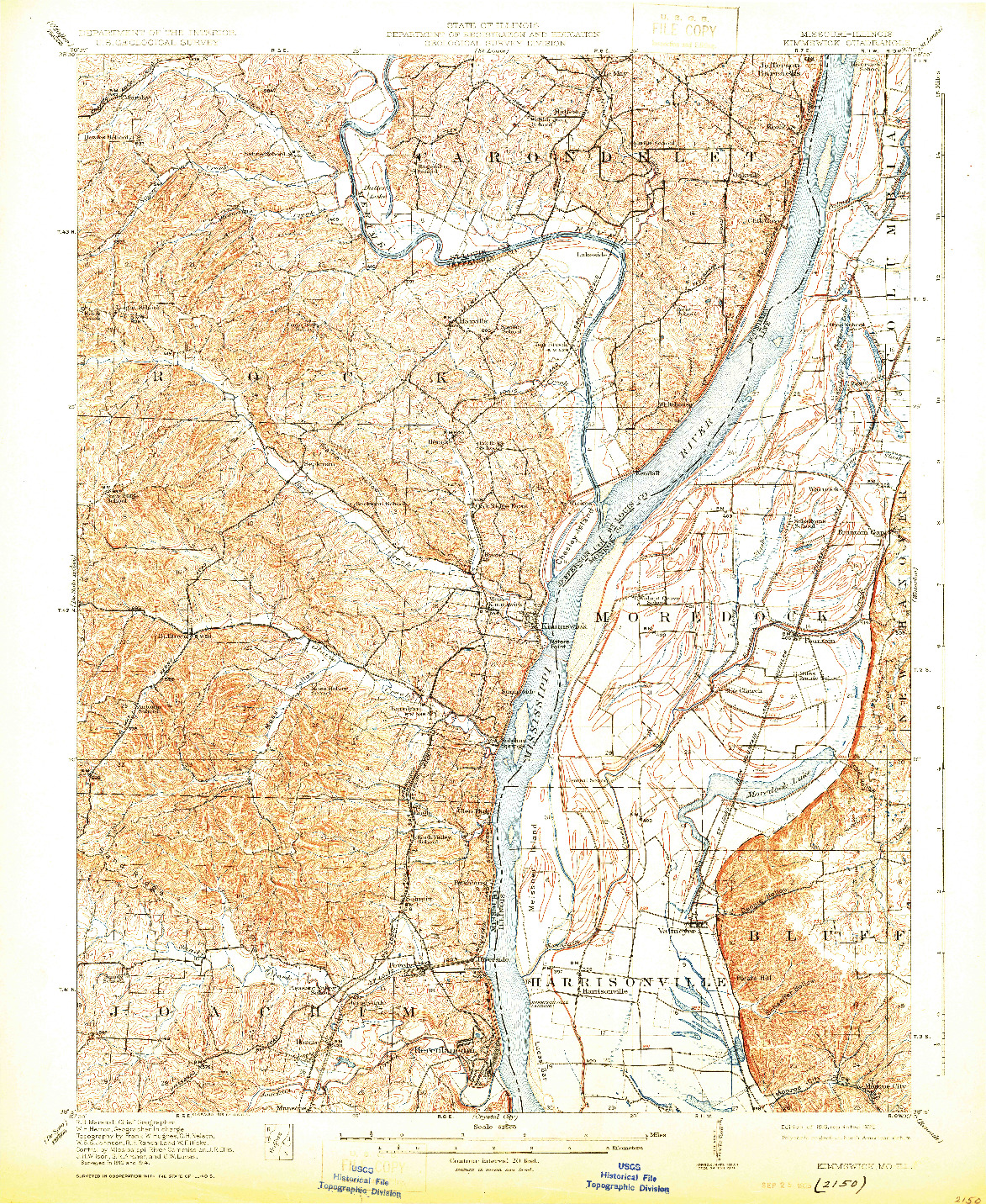 USGS 1:62500-SCALE QUADRANGLE FOR KIMMSWICK, MO 1916
