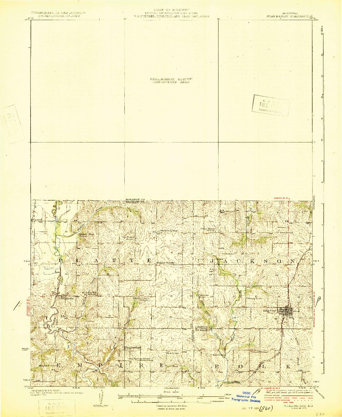 USGS 1:62500-SCALE QUADRANGLE FOR STANBERRY, MO 1925