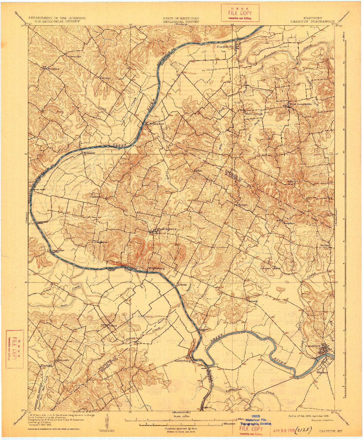 USGS 1:62500-SCALE QUADRANGLE FOR CALHOUN, KY 1908
