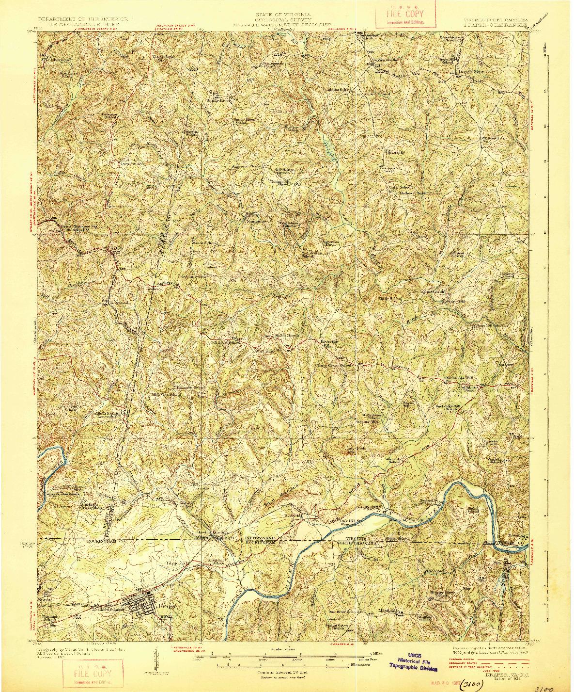 USGS 1:62500-SCALE QUADRANGLE FOR DRAPER, VA 1926