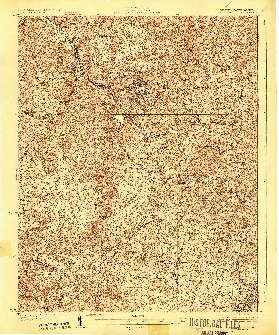 USGS 1:62500-SCALE QUADRANGLE FOR MARTINSVILLE, VA 1926
