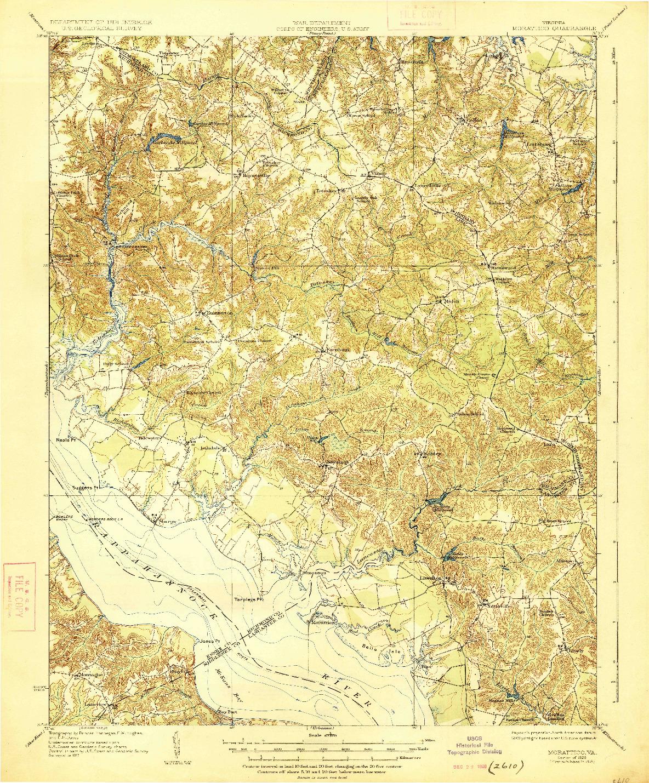USGS 1:62500-SCALE QUADRANGLE FOR MORATTICO, VA 1918