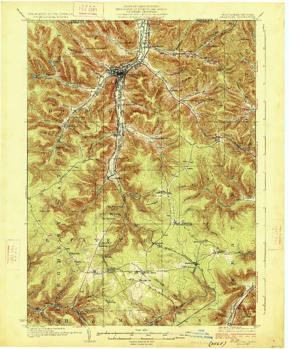 USGS 1:62500-SCALE QUADRANGLE FOR BRADFORD, PA 1926