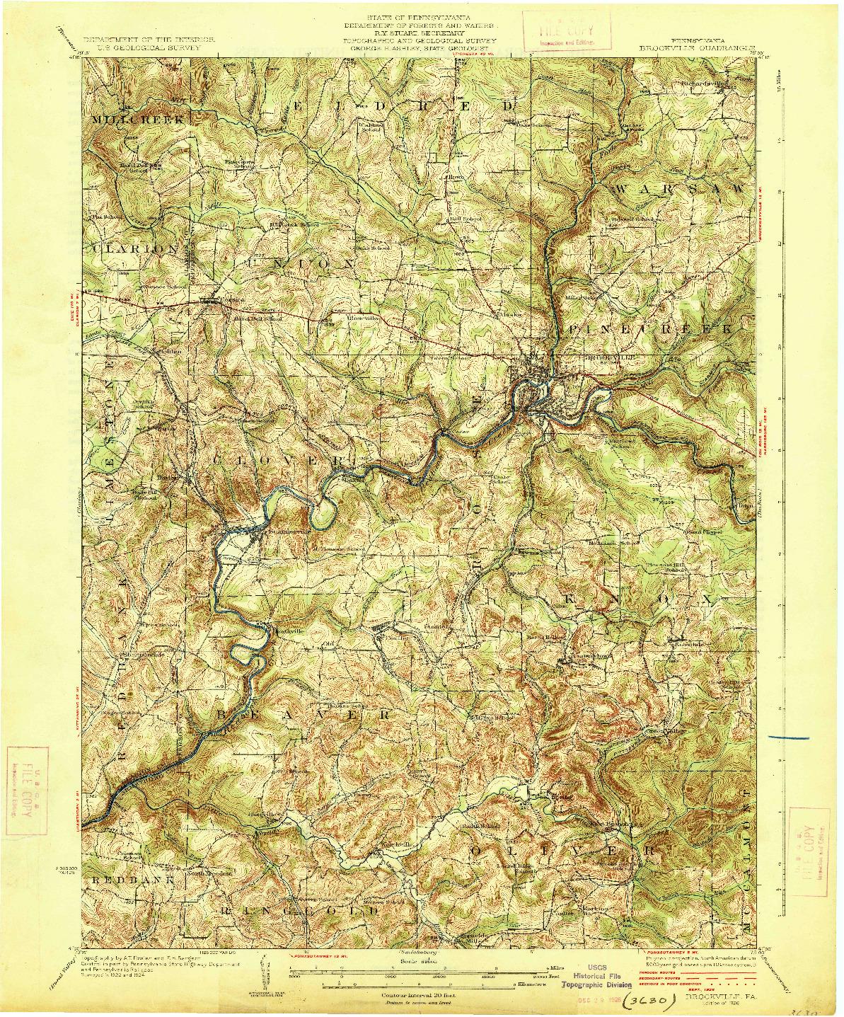 USGS 1:62500-SCALE QUADRANGLE FOR BROOKVILLE, PA 1926