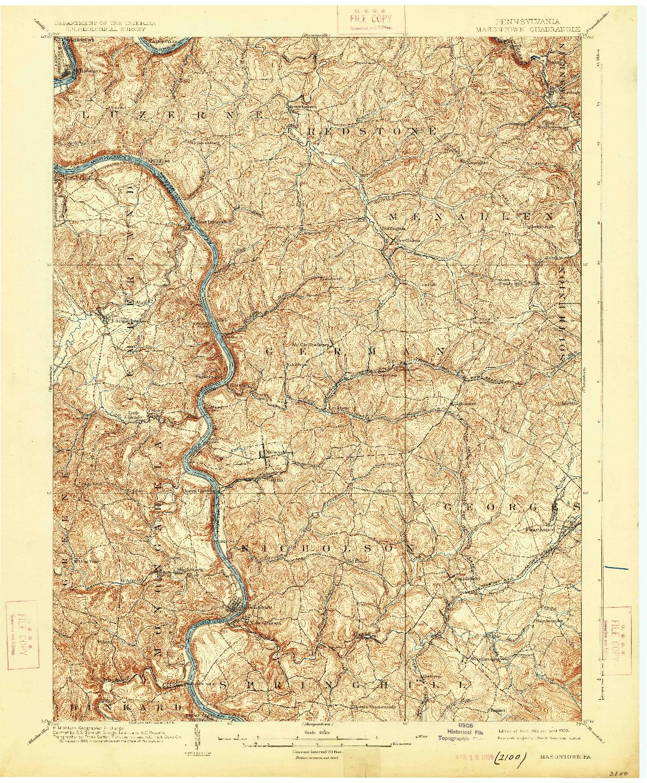 USGS 1:62500-SCALE QUADRANGLE FOR MASONTOWN, PA 1903