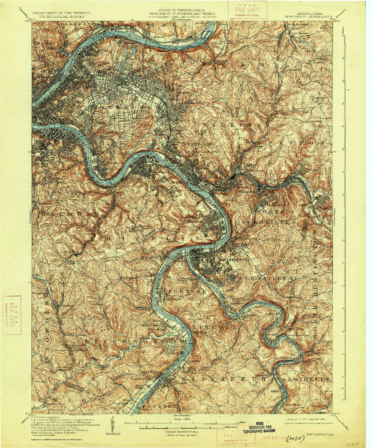 USGS 1:62500-SCALE QUADRANGLE FOR PITTSBURGH, PA 1907