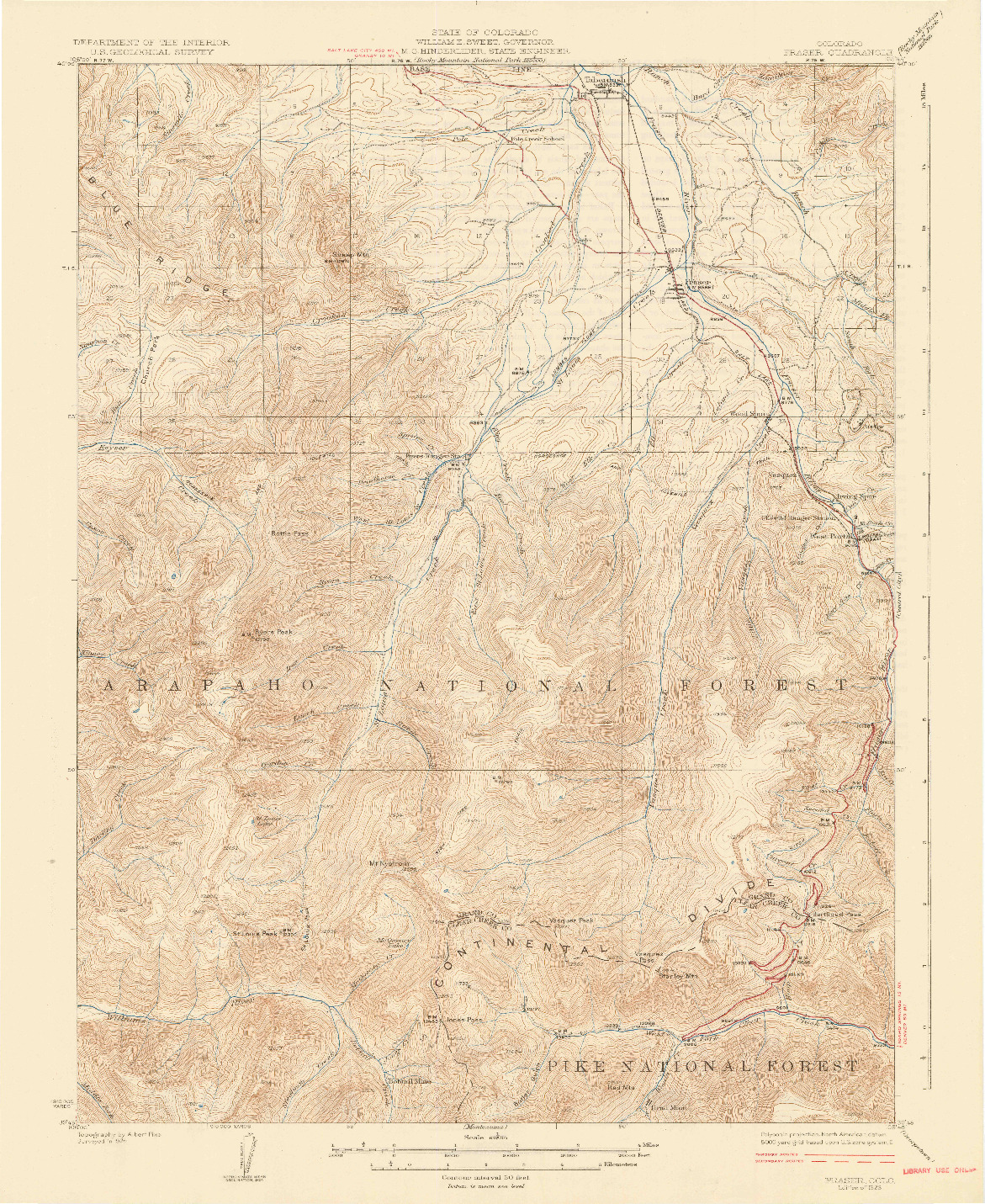 USGS 1:62500-SCALE QUADRANGLE FOR FRASER, CO 1926
