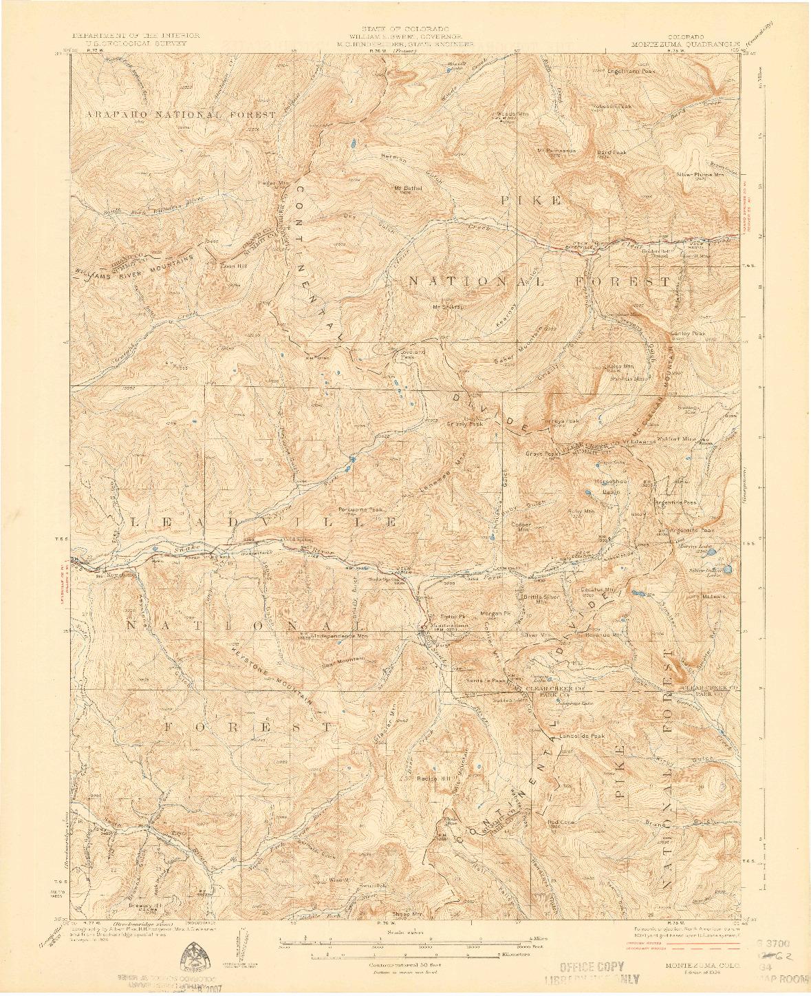 USGS 1:62500-SCALE QUADRANGLE FOR MONTEZUMA, CO 1926