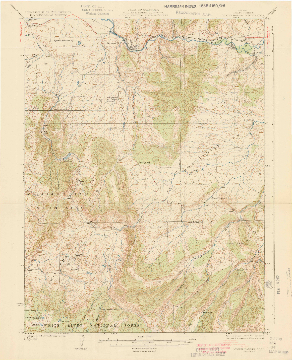 USGS 1:62500-SCALE QUADRANGLE FOR MOUNT HARRIS, CO 1926